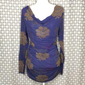 SWEET PEA Purple Floral Long Sleeve Top XL Nylon